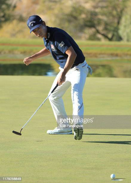 Kevin Na reacts after a birdie putt on the 17th green during the third round of the Shriners Hospitals for Children Open at TPC Summerlin on October...