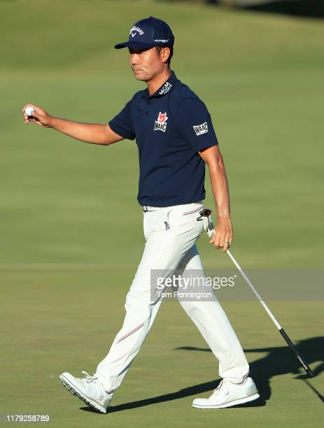 Kevin Na reacts after a birdie putt on the 18th green during the third round of the Shriners Hospitals for Children Open at TPC Summerlin on October...