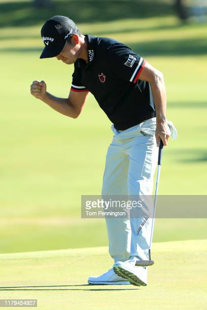 Kevin Na reacts after a putt on the ninth green during the final round of the Shriners Hospitals for Children Open at TPC Summerlin on October 6 2019...