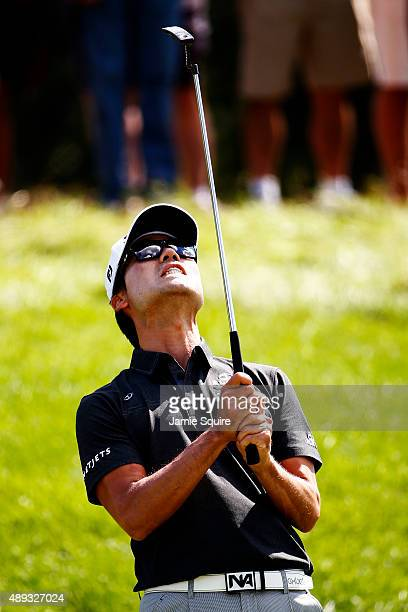 Kevin Na reacts after missing a putt on the third green during the Final Round of the BMW Championship at Conway Farms Golf Club on September 20 2015...