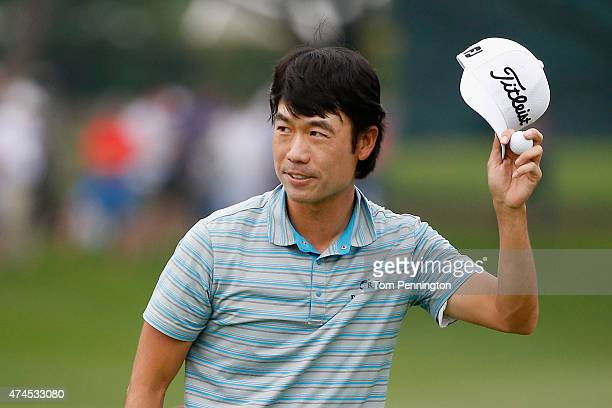 Kevin Na reacts after the 18th tee during the third round of the Crowne Plaza Invitational at the Colonial Country Club on May 23 2015 in Fort Worth...