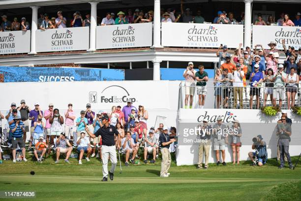 Kevin Na reacts as he makes the winning putt on the eighteenth green during the final round of the Charles Schwab Challenge at Colonial Country Club...