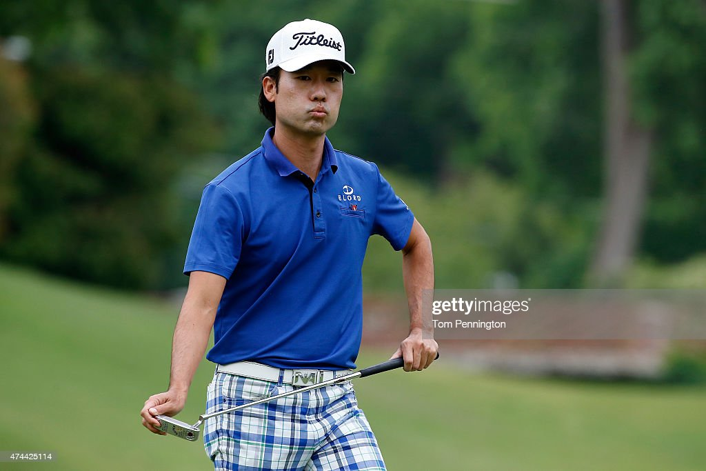 Kevin Na reacts to his shot on the 16th green during the second round of the Crowne Plaza Invitational at the Colonial Country Club on May 22, 2015 in Fort Worth, Texas.