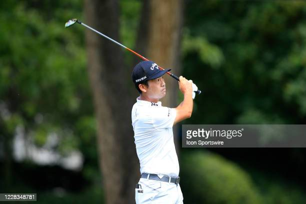 Kevin Na tees off during the first round of the TOUR Championship on September 4, 2020 at the East Lake Golf Club in Atlanta, GA.