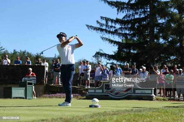 Kevin Na tees off on the 15th hole during the final round of A Military Tribute At The Greenbrier held at the Old White TPC course on July 8 2018 in...