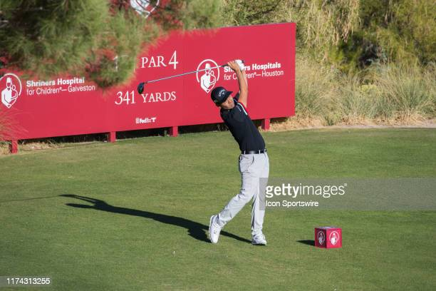 Kevin Na tees off on the 15th hole during the final round of the Shriners Hospitals for Children Open on October 6, 2019 at TPC Summerlin in Las...