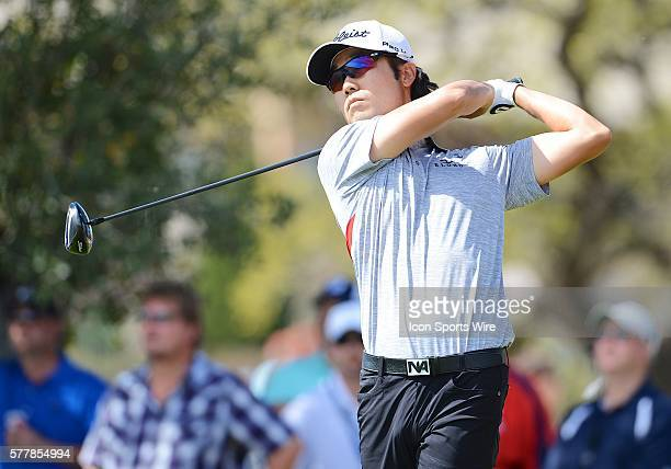 Kevin Na tees off on the 17th hole during the 2014 Valero Texas Open at the TPC San Antonio.