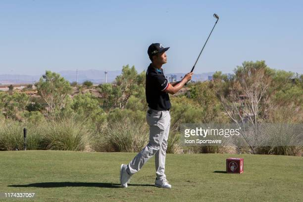 Kevin Na tees off on the 5th hole during the final round of the Shriners Hospitals for Children Open on October 6, 2019 at TPC Summerlin in Las...
