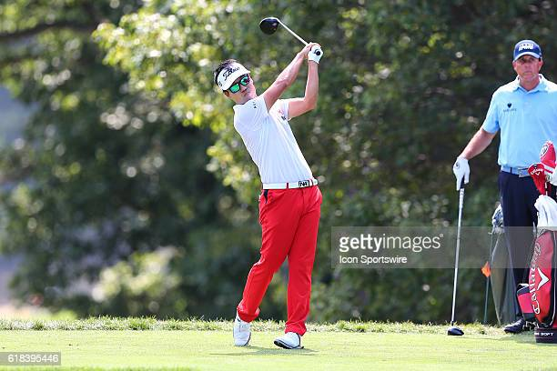 Kevin Na tees off on the 5th hole during the second round of The Barclays played at Bethpage State Park the Black Course in Farmingdale,NY. The...