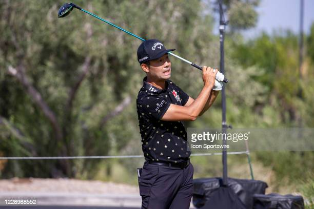 Kevin Na tees off on the fourth hole during the second round of the Shriners Hospitals for Children Open on October 9, 2020 at TPC Summerlin in Las...