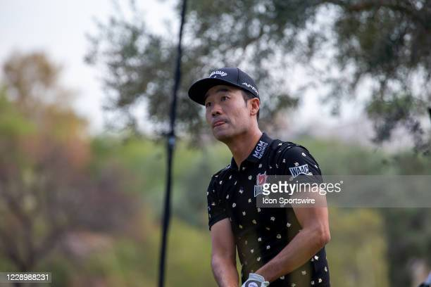 Kevin Na tees off on the ninth hole during the second round of the Shriners Hospitals for Children Open on October 9, 2020 at TPC Summerlin in Las...
