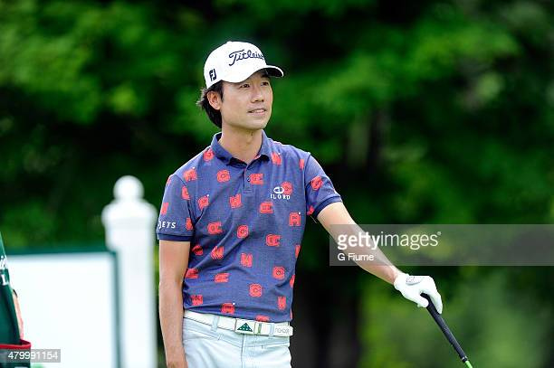 Kevin Na waits to tee off on the 17th hole during the third round of the Greenbrier Classic at the Old White TPC on July 4, 2015 in White Sulphur...