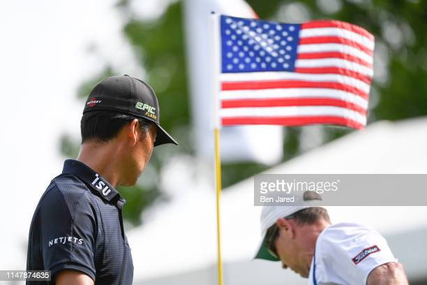 Kevin Na walks off the seventeenth green during the final round of the Charles Schwab Challenge at Colonial Country Club on May 26 2019 in Fort Worth...