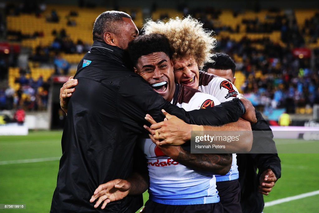 Kevin Naiqama of Fiji celebrates after winning the 2017 Rugby League World Cup Quarter Final match between New Zealand and Fiji at Westpac Stadium on November 18, 2017 in Wellington, New Zealand.
