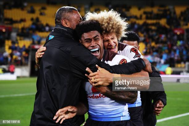 Kevin Naiqama of Fiji celebrates after winning the 2017 Rugby League World Cup Quarter Final match between New Zealand and Fiji at Westpac Stadium on...