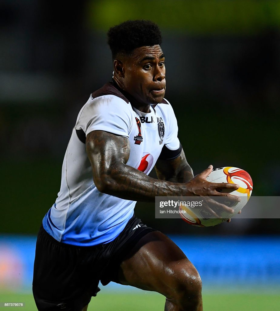 Kevin Naiqama of Fiji runs the ball during the 2017 Rugby League World Cup match between Fiji and the United States on October 28, 2017 in Townsville, Australia.
