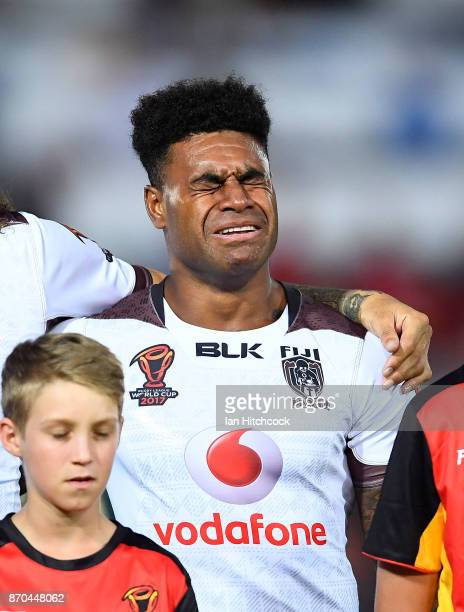 Kevin Naiqama of Fiji weeps during the Fijian national anthem during the 2017 Rugby League World Cup match between Fiji and Wales at 1300SMILES...