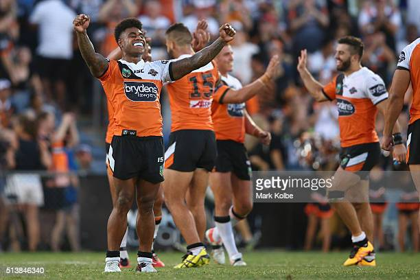 Kevin Naiqama of the Tigers celebrates victory during the round one NRL match between the Wests Tigers and the New Zealand Warriors at Campbelltown...