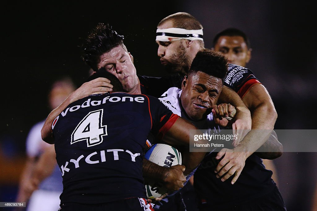 Kevin Naiqama of the Tigers charges forward during the round six NRL match between the New Zealand Warriors and the Wests Tigers at Mt Smart Stadium on April 11, 2015 in Auckland, New Zealand.