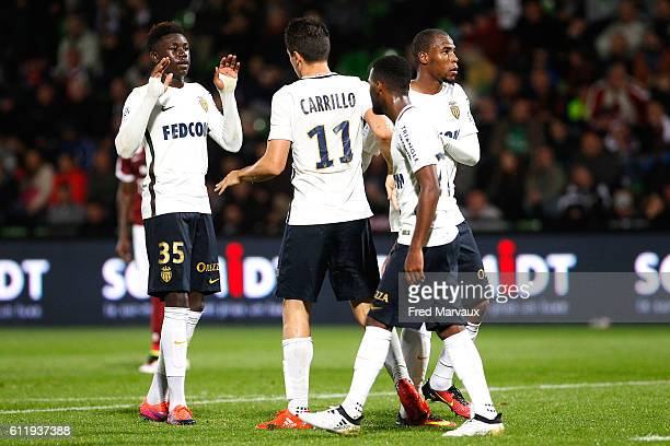 Kevin Ndoram of Monaco and Guido Carrillo of Monaco celebrates scoring his goal during the Ligue 1 match between FC Metz and AS Monaco at Stade...