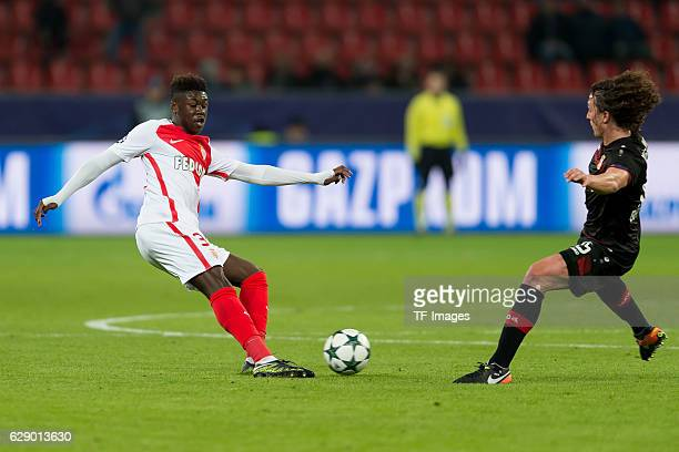 Kevin N'Doram of Monaco and Julian Baumgartlinger of Leverkusen battle for the ball during the UEFA Champions League match between Bayer Leverkusen...
