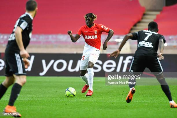 Kevin N'Doram of Monaco during the Ligue 1 match between AS Monaco and Amiens SC at Stade Louis II on April 28 2018 in Monaco