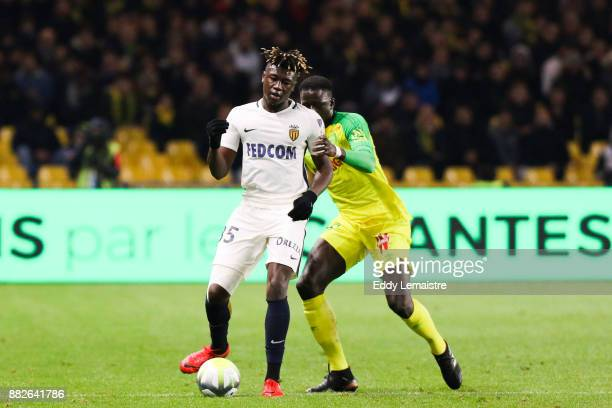 Kevin Ndoram of Monaco during the Ligue 1 match between FC Nantes and AS Monaco at Stade de la Beaujoire on November 29 2017 in Nantes