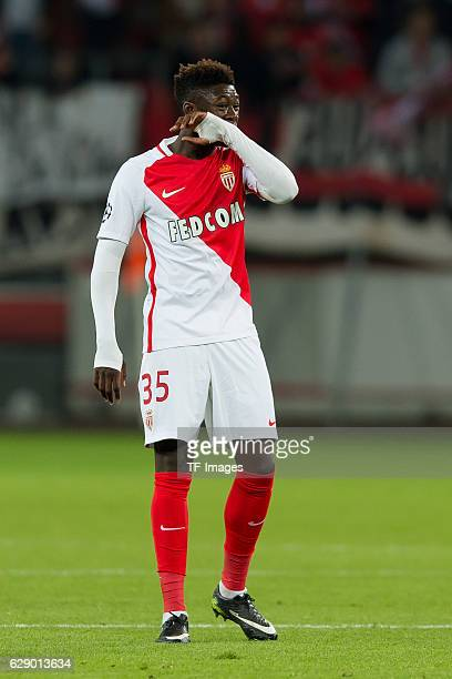 Kevin N'Doram of Monaco gestures during the UEFA Champions League match between Bayer Leverkusen and AS Monaco at the BayArena in Leverkusen Germany...