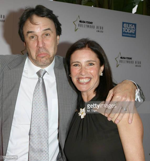Kevin Nealon and Mimi Rogers during 2nd Annual USA Today Hollywood Hero Award Arrivals at Beverly Hills Hotel in Beverly Hills California United...