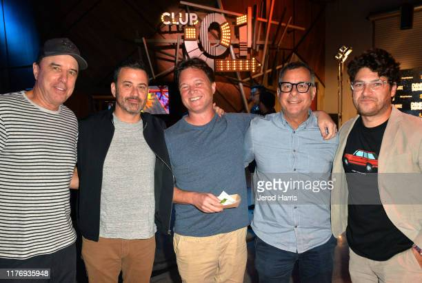 Kevin Nealon Jimmy Kimmel Daniel Kellison Kent Alterman and Adam Pally attend the Crank Yankers 2019 Premiere Party at Two Bit Circus on September 24...