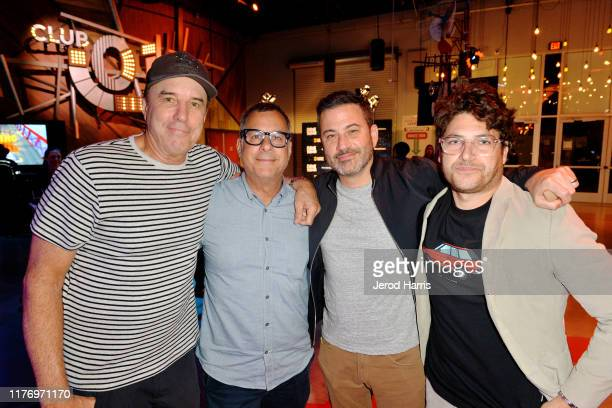 Kevin Nealon, Kent Alterman, Jimmy Kimmel and Adam Pally attend 'Crank Yankers' 2019 Premiere Party at Two Bit Circus on September 24, 2019 in Los...