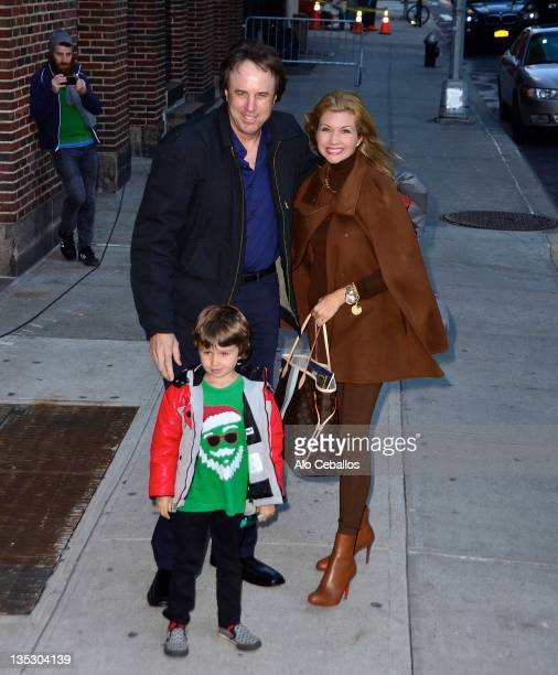 Kevin Nealon son Gable Ness Nealon and Susan Yeagley visit Late Show With David Letterman at the Ed Sullivan Theater on December 8 2011 in New York...