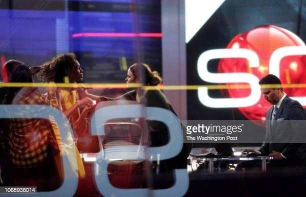 Kevin Negandhi and Sage Steele prepare to anchor SportsCenter at ESPN Headquarters on November 15 2018