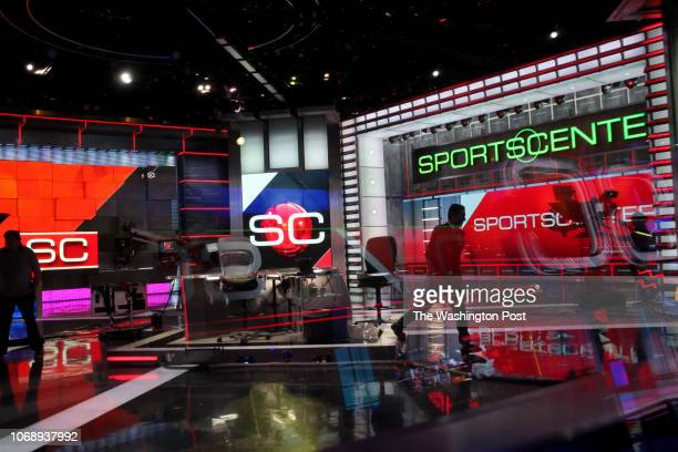 Kevin Negandhi prepares to anchor SportsCenter with Sage Steele at ESPN Headquarters on November 15 2018