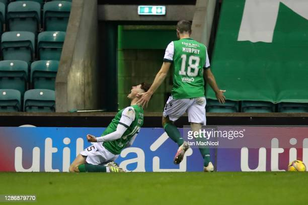 Kevin Nisbet of Hibernian celebrates after scoring his team's second goal during the Ladbrokes Scottish Premiership match between Hibernian and...
