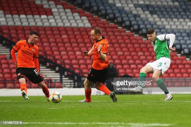 Kevin Nisbet of Hibernian FC scores their side's first goal during the William Hill Scottish Cup match between Dundee United and Hibernian at Hampden...