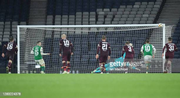 Kevin Nisbet of Hibernian takes a penalty but hits the post during the William Hill Scottish Cup first semi-final match between Heart of Midlothian...