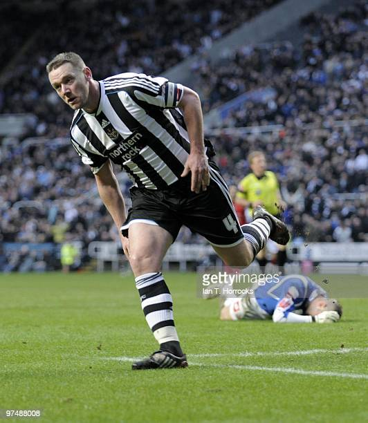 Kevin Nolan celebrates after rounding stand in keeper David Preece to score the sixth goal during the CocaCola championship match between Newcastle...
