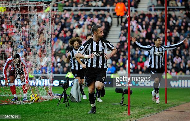 Kevin Nolan celebrates the first Newcastle goal during the Barclays Premier League match between Sunderland and Newcastle United at Stadium of Light...