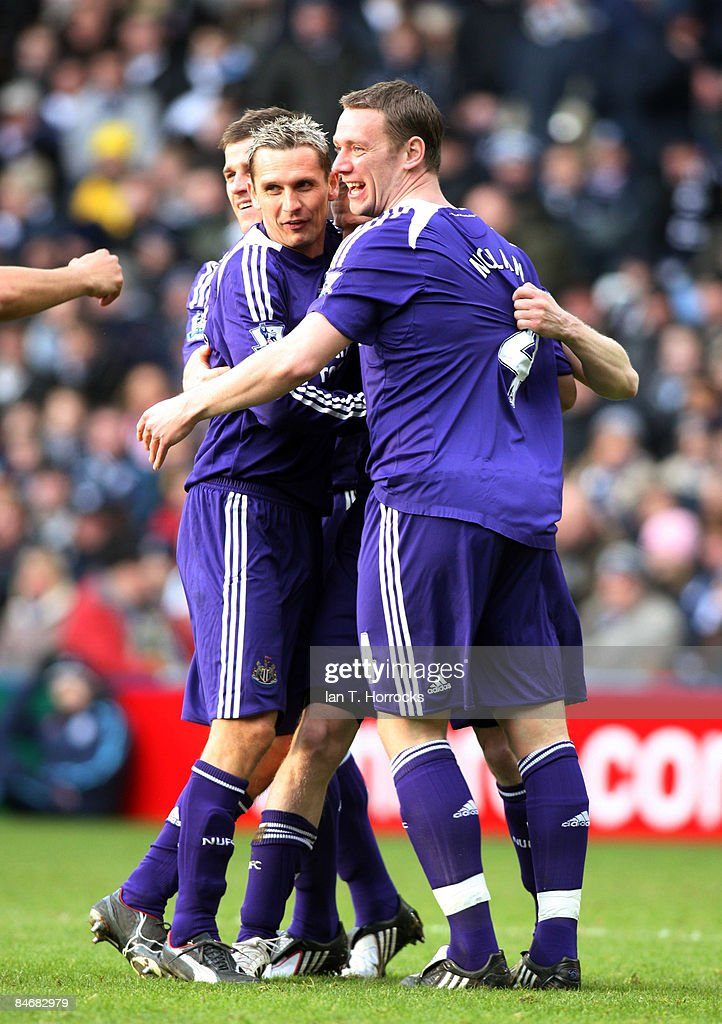 Kevin Nolan celebrates with Peter Lovenkrands (L) during the Barclays Premier League game between West Bromwich Albion and Newcastle United at the Hawthorns on February 07, 2009, in West Bromwich, England. (Photo by Ian Horrocks/Newcastle United via Getty Images) Newcastle-upon-Tyne, England.