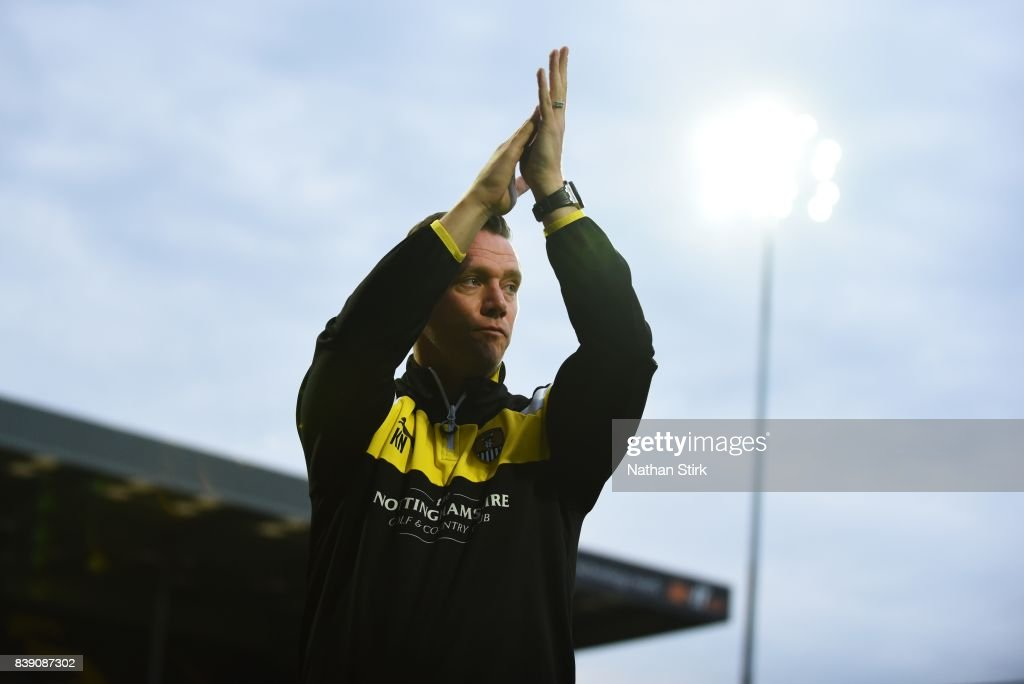Kevin Nolan manager of Notts County claps the fans before the Sky Bet League Two match between Notts County and Accrington Stanley at Meadow Lane on August 25, 2017 in Nottingham, England.