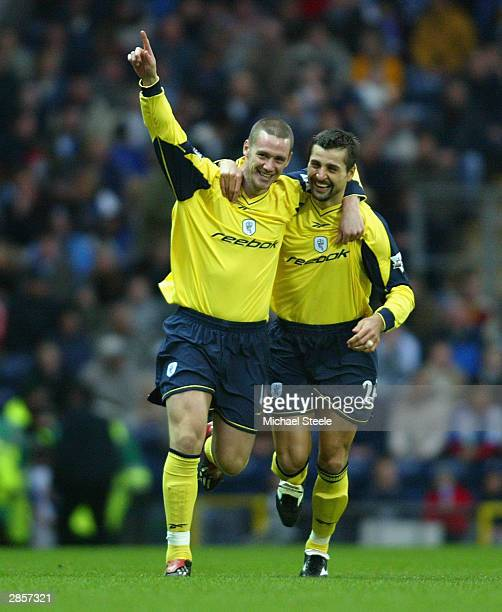 Kevin Nolan of Bolton celebrates the first goal with Emerson Thome during the FA Barclaycard Premiership match between Blackburn Rovers and Bolton...