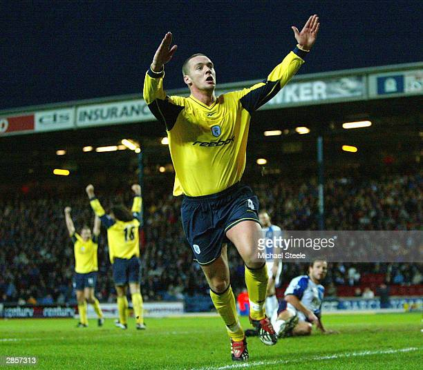 Kevin Nolan of Bolton celebrates the fourth and winning goal during the FA Barclaycard Premiership match between Blackburn Rovers and Bolton...