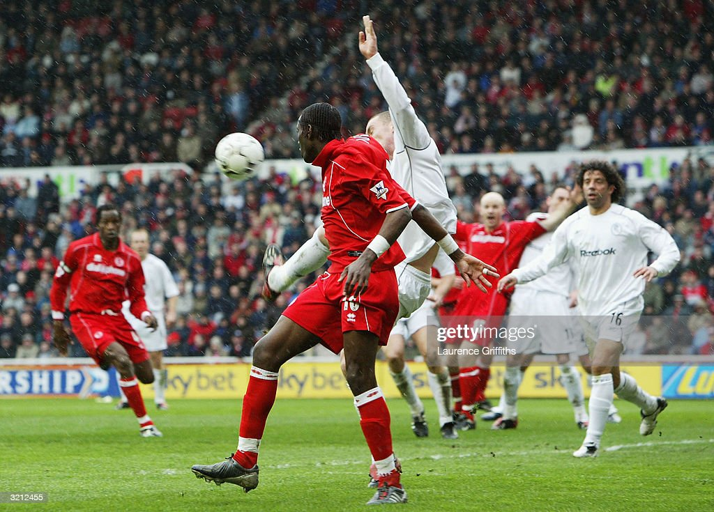 Kevin Nolan of Bolton scores an own goal during the FA Barclaycard Premiership match between Middlesbrough and Bolton Wanderers at The Riverside Stadium April 3, 2004 in Middlesbrough, England.