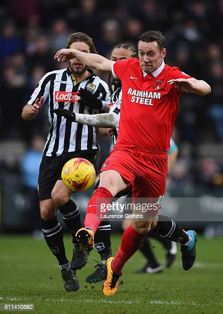 Kevin Nolan of Leyton Orient battles with Alan Smith of Notts County during the Sky Bet League Two match between Notts County and Leyton Orient at...