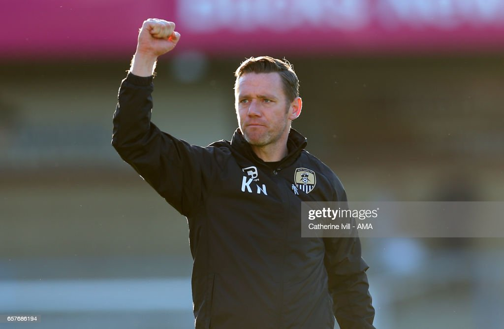 Kevin Nolan of manager Notts County celebrates the win after the Sky Bet League Two match between Wycombe Wanderers and Notts County at Adams Park on March 25, 2017 in High Wycombe, England.