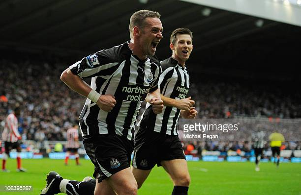 Kevin Nolan of Newcastle celebrates after scoring a goal to make it 50 during the Barclays Premier League match between Newcastle United and...