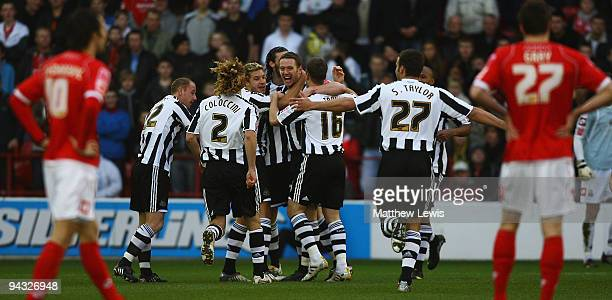 Kevin Nolan of Newcastle celebrates his goal during the CocaCola Championship match between Barnsley and Newcastle United at Oakwell on December 12...