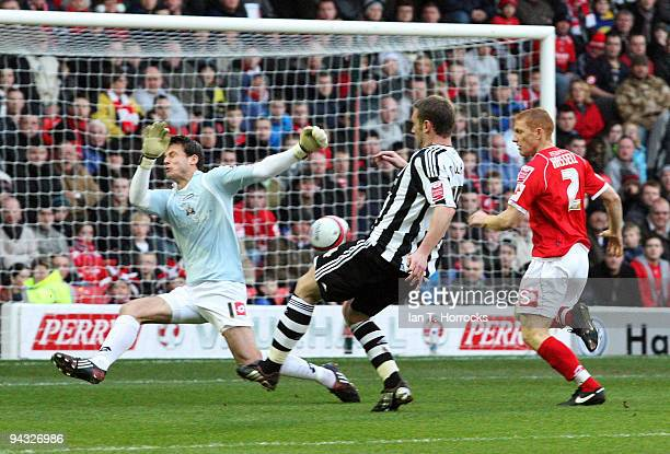 Kevin Nolan of Newcastle scores the opening goal during the Coca-Cola Championship game between Barnsley and Newcastle United at the Oakwell ground...