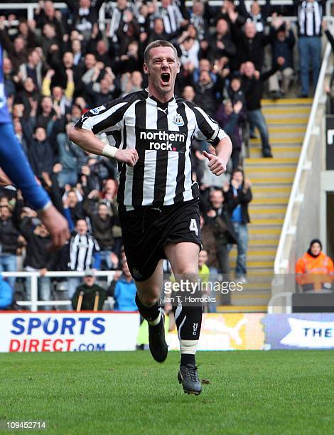 Kevin Nolan of Newcastle United celebrates after scoring the first goal during the Barclays Premier League match between Newcastle United and Bolton...